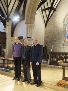 Geoff Bolton with our organist, Robin Miller and Rector, Graham Taylor, before the recital.