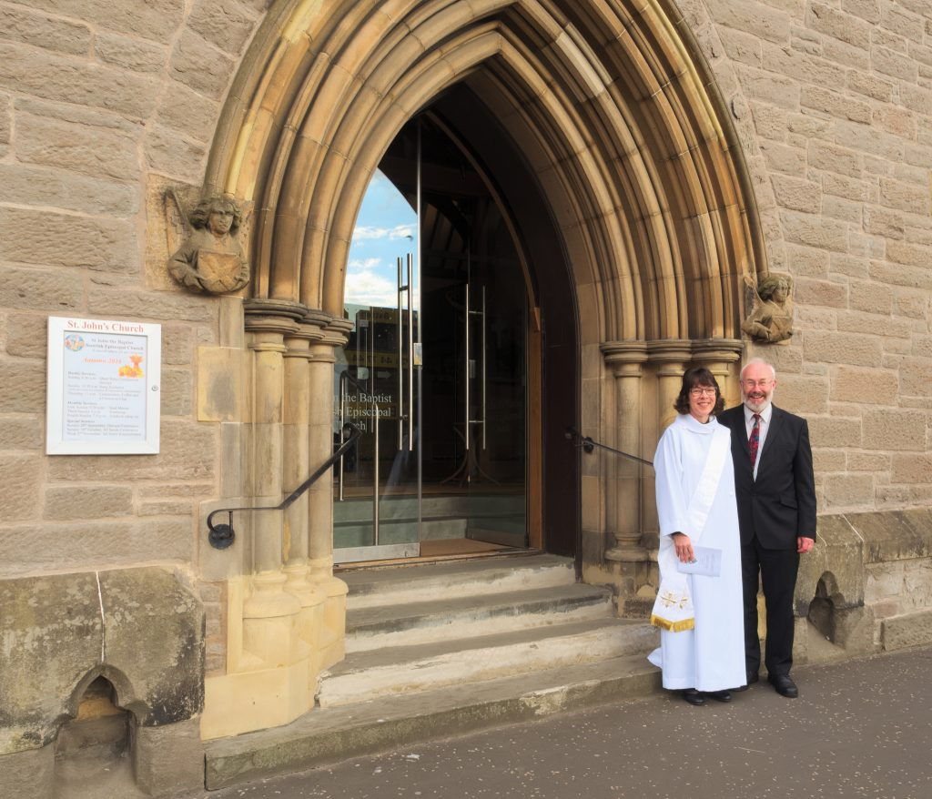 Nerys and Davie on the church steps before the service started.