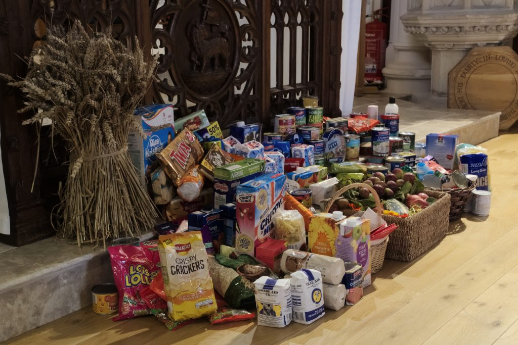 Food and other contributions around the altar, Harvest 2016